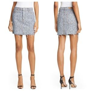 GRLFRND Blaire Denim Jean Cheetah Mini Skirt, 24